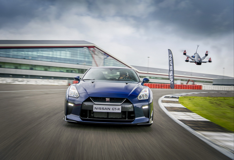 The drone went head-to-head with a 2017 Nissan GT-R performance car at Silverstone Circuit in the United Kingdom.