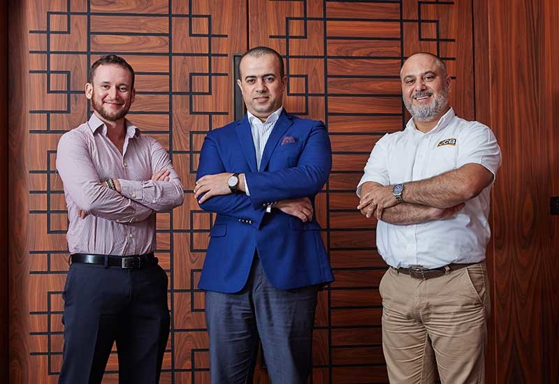 L-R: Daniel Crossan, project manager at Himoinsa; Hussein Elkashef, sales manager for SDMO at GENAVCO; and Faisal Hamze, manager for JCB Power Products.