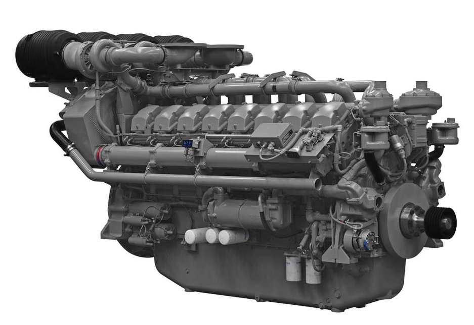 The Perkins 4016-61TRG diesel engine, with 16 cylinders and a 61-litre capacity.