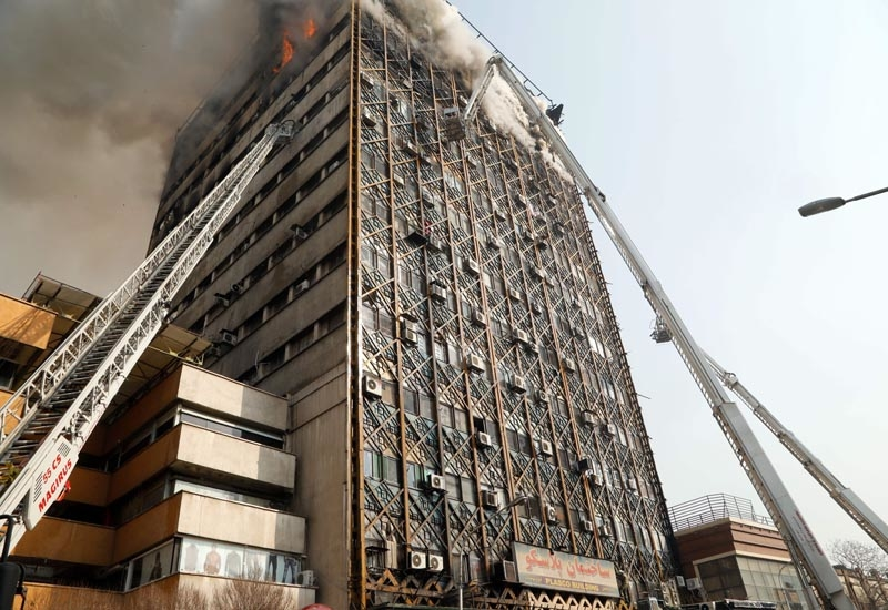 The Plasco building in downtown Tehran collapsed after a fire raged through its upper floors.