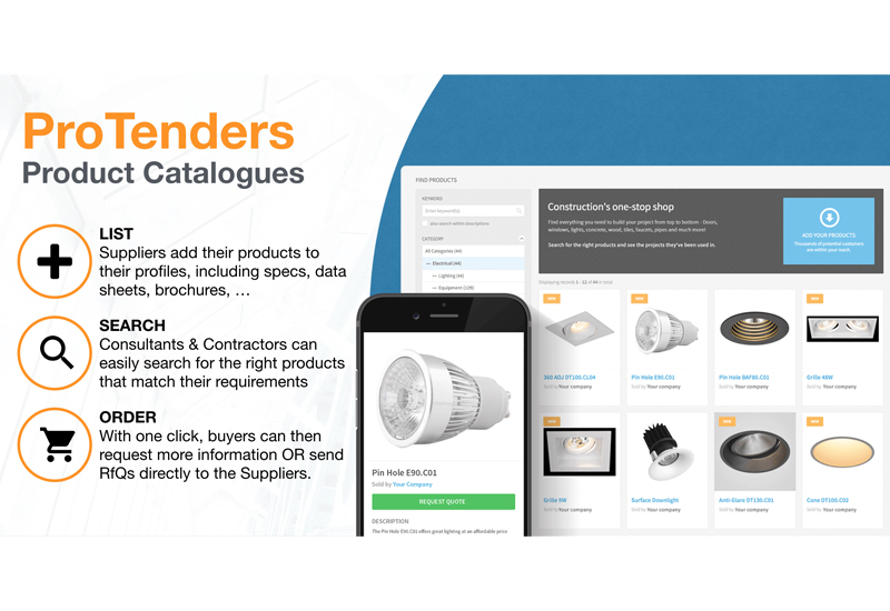 ProTenders.com's Construction Product Catalogue will augment the firm's existing e-tendering platform.