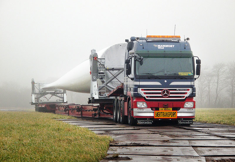 The logistics of bringing the wind turbine components to site remain the same. Here, Mammoet delivers the tallest wind turbine in the world, at 234m, in Denmark.