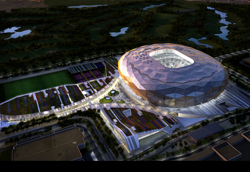The stadium is designed to represent a diamond sparkling in the desert.