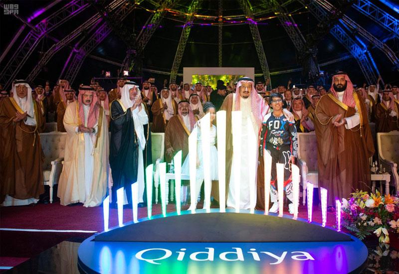King Salman bin Abdulaziz Al Saud lays the foundation stone.