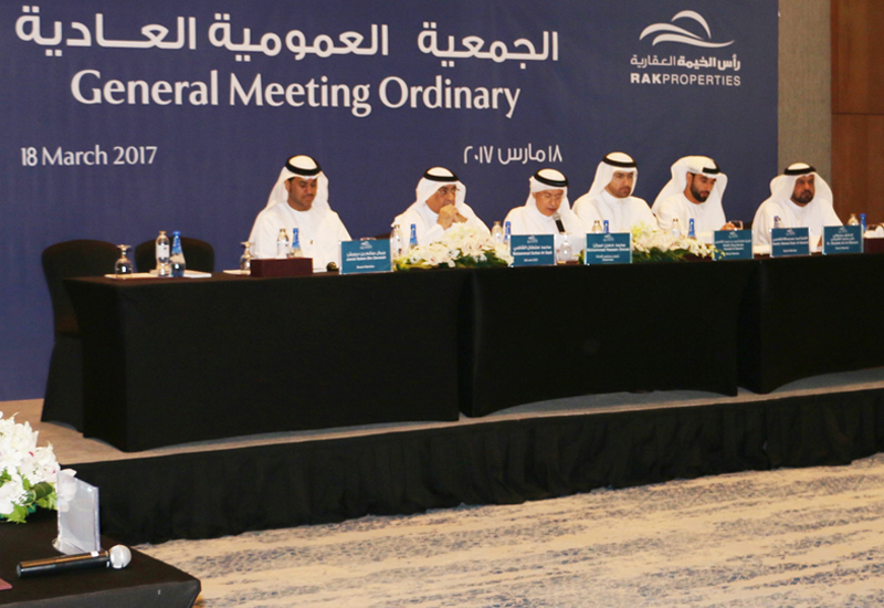 RAK Properties authorised a 5% cash dividend for 2016 at its annual general meeting.