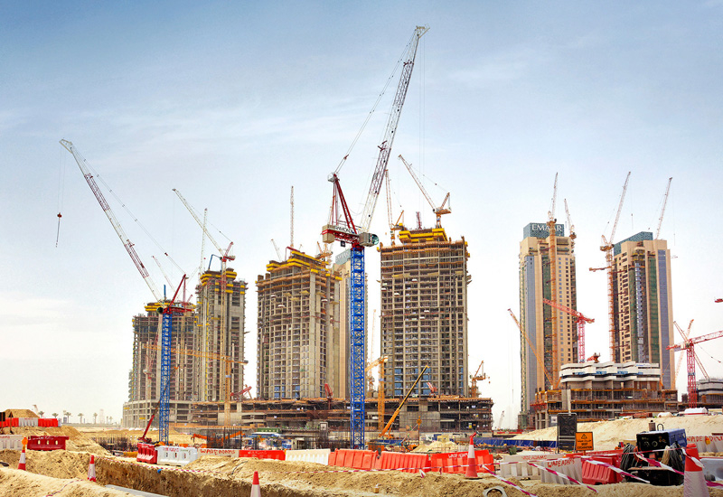 Raimondi's LR213 luffing cranes have been erected at the construction site of Emaar's Dubai Creek Harbour for Creek Gate [image: Raimondi Middle East].