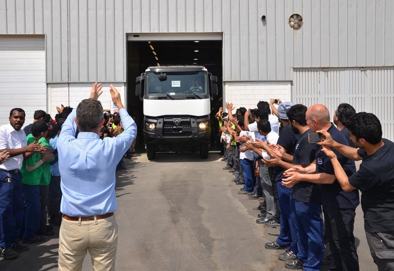 The first Saudi-built Renault truck rolls out of the AVI facility in KAEC, Saudi Arabia.