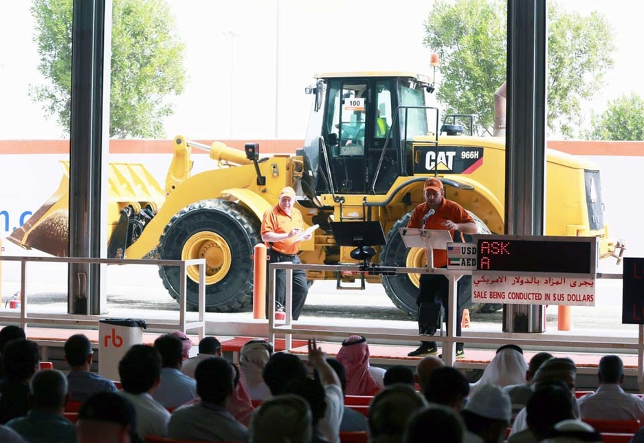 Ritchie Bros staff host an onsite auction in Jebel Ali, Dubai.