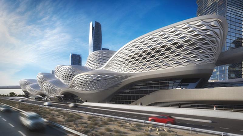 A rendering of a Riyadh Metro station.