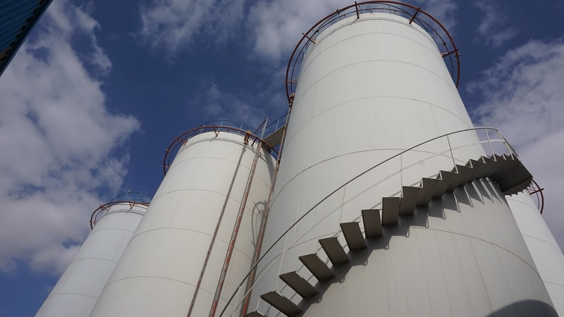 Base oil storage tanks at Rulexx Lubricants & Grease Industries.