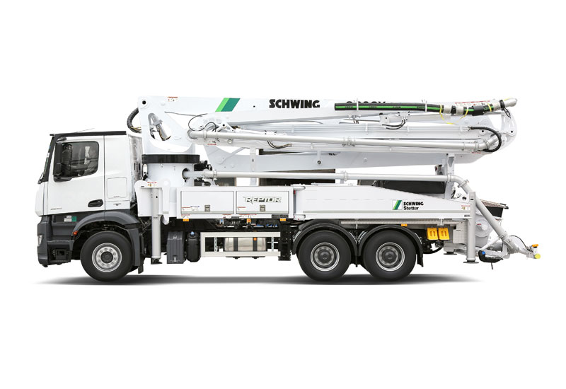 The S38SX Reptor, a truck-mounted concrete pump, has been redesigned to deliver high project flexibility.