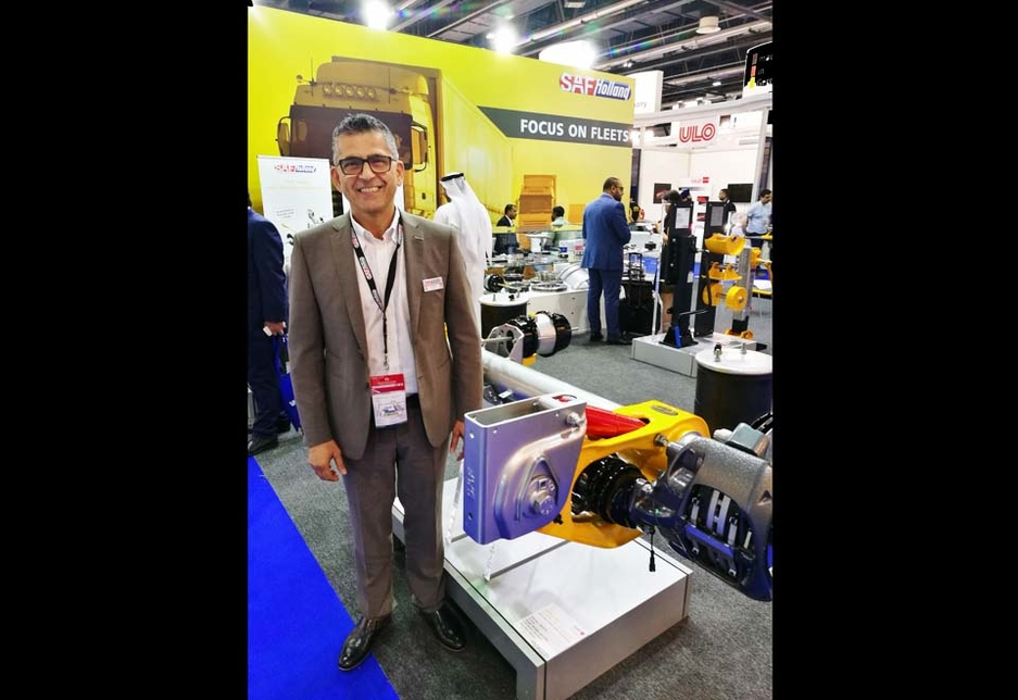 Jean Khoury, MD of SAF Holland Middle East, alongside a disc brake display at the brand's stand.
