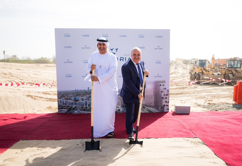 Saeed Humaid Al Tayer and Mirwais Azizi at the Azizi Victoria groundbreaking.