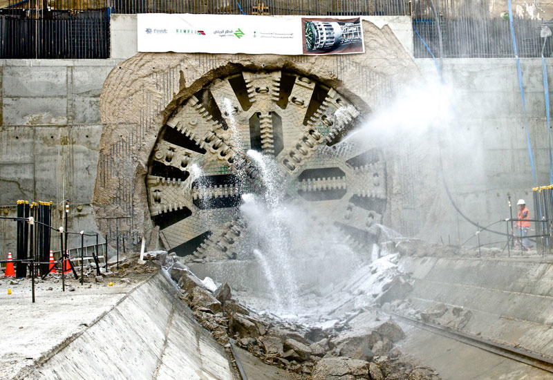 The above image captures the exact moment when Sanah TBM broke through at Riyadh Metros Salah Al-Din Station.