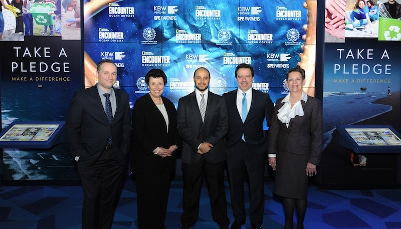 KBW Ventures' Prince Khaled (centre) with officials from National Geographic Partners and SPE Partners [image: Diane Bondareff/AP Images].