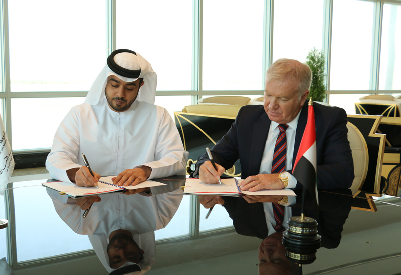 Sheikh Khalid Isam Al Qassimi, chairman of the Department of Civil Aviation-Sharjah signed the contract with the Serco ME CEO David Greer.