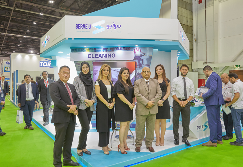 Sohail Ausaf [third facing from right] with the ServeU team at the FM Expo 2017.