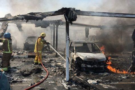 A fire destroyed 19 cars at Sharjah University. [Image: Sharjah Civil Defense/Twitter]