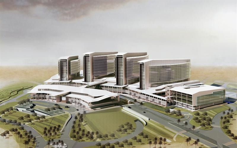 Work at Sheikh Shakhbout Medical City is 82% complete. [Image: NEA & Partners]