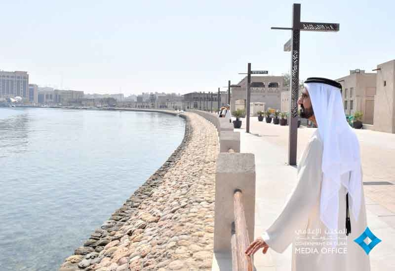 The Ruler of Dubai recently toured the ongoing Shindagha Heritage District's project site [image: Twitter/Dubai Media Office].