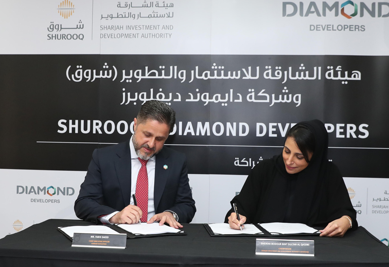 Shurooq and Diamond Developers have signed an agreement to develop a mixed-use project in Sharjah.