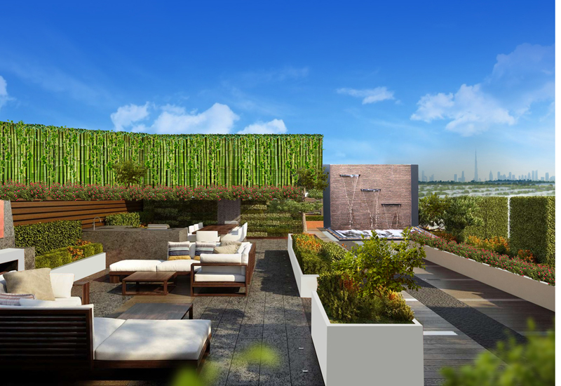Terrace and sky garden view.