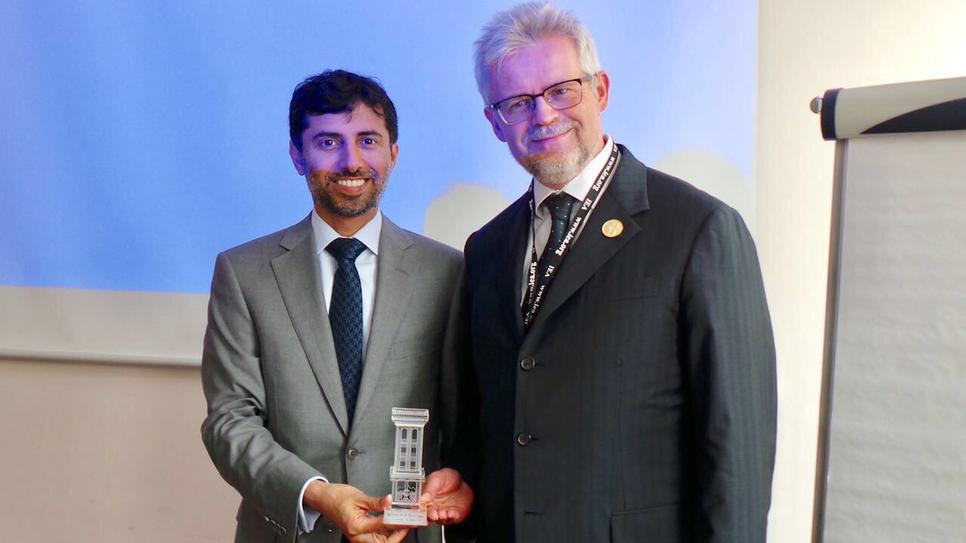 UAE Energy Minister Suhail bin Mohammed Faraj Faris Al Mazrouei (left) at the Global Conference on Energy Efficiency.