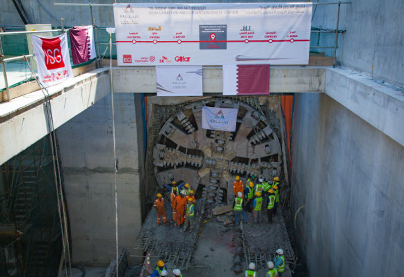 "A Doha Metro tunnel boring machine ""breaks through"" and reaches the Doha Exhibition and Conference Center station site. (Image Doha News)."