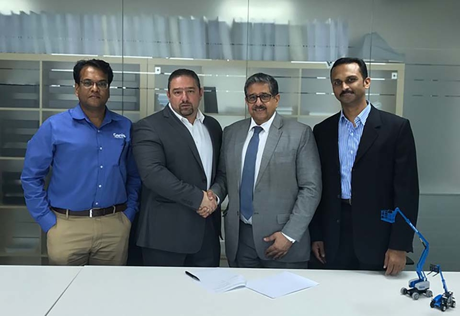 L-R: Antony Chalissery, technical service manager, Terex Middle East; Sharbel Kordahi, MD, Terex Middle East; Hassan Al Mahroos, chairman and CEO, M H Al Mahroos Group; Pradeep Manimangalam, service manager, M H Al Mahroos Group.