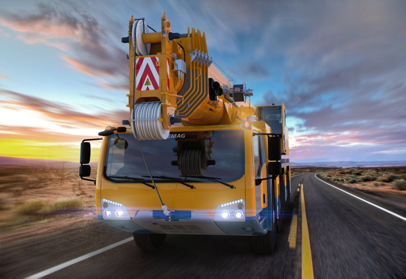 Demag's new all-terrain crane range is distinguished from Terex's by its five-axle platform.
