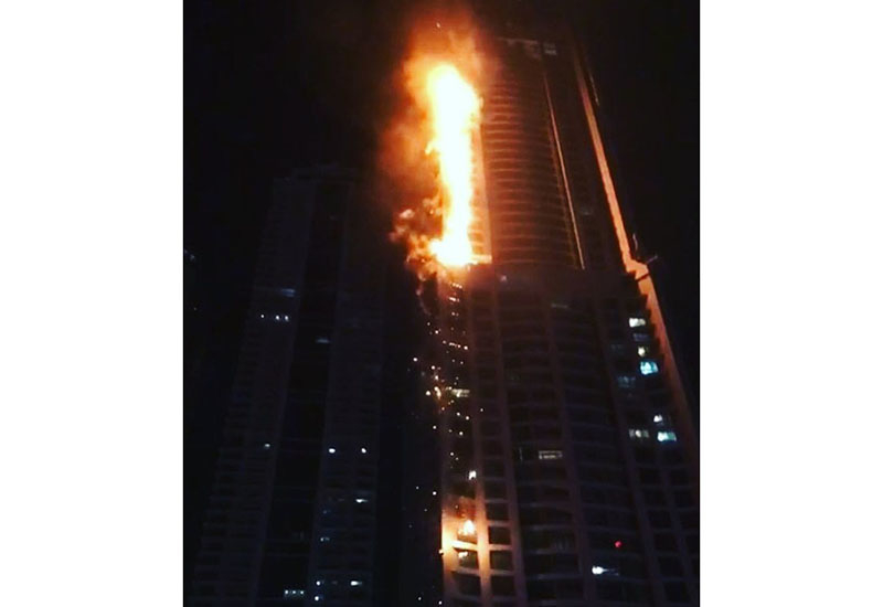 The fire was reported to Dubai Civil Defence (DCD) at 12.45am on Friday, 4 August, 2017 [image: DCD].