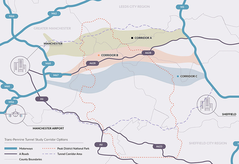 All five routes join the M60 east of Manchester to the M1 north of Sheffield, with four options starting at the M67.