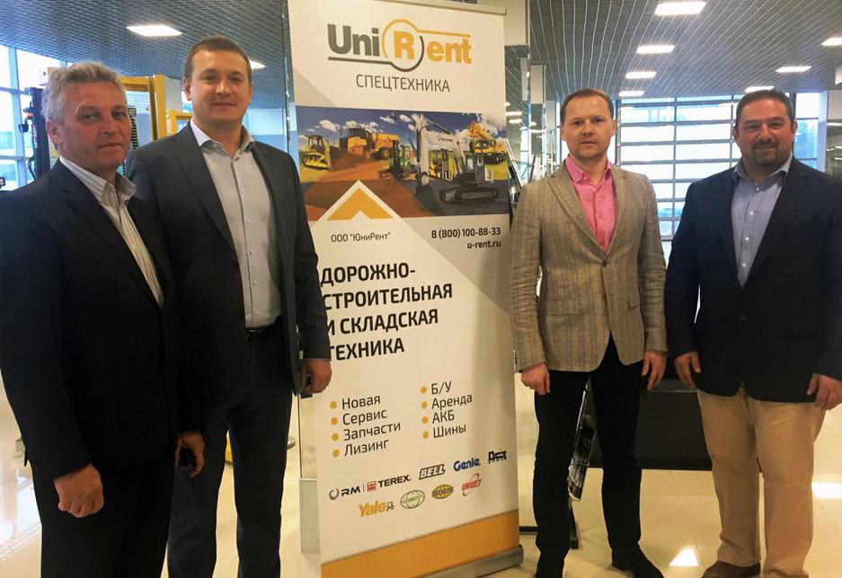 L-R: Zlobin Yurii, head of Logistics at Unirent; Yaroslav Klepov, CEO of Unirent; Dmitri Kurilov, head of Genie products at Unirent; and Sharbel Kordahi, MD for Terex Equipment Middle East.