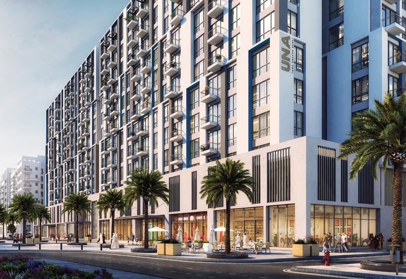 UNA mixed-use development in Dubai's Town Square community.