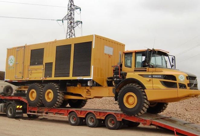 A Volvo A30F articulated dump truck equipped with service equipment for the machines around the mines.