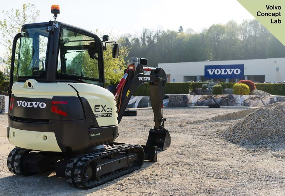 Volvo CE's EX2 excavator features electric drive systems and electromechanical linear actuators in place of hydraulics.