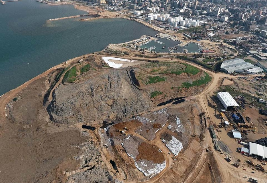 Aerial view of the Bourj Hammoud Landfill, including the reclamation area and breakwater.