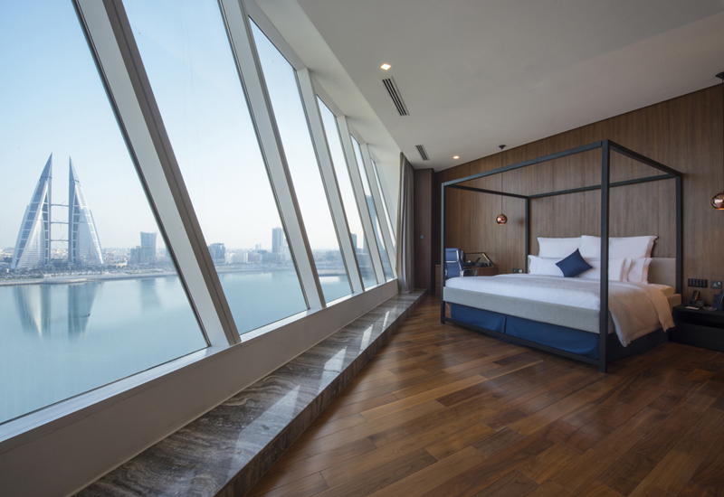 Wyndham Grand Manama sea view hotel room.