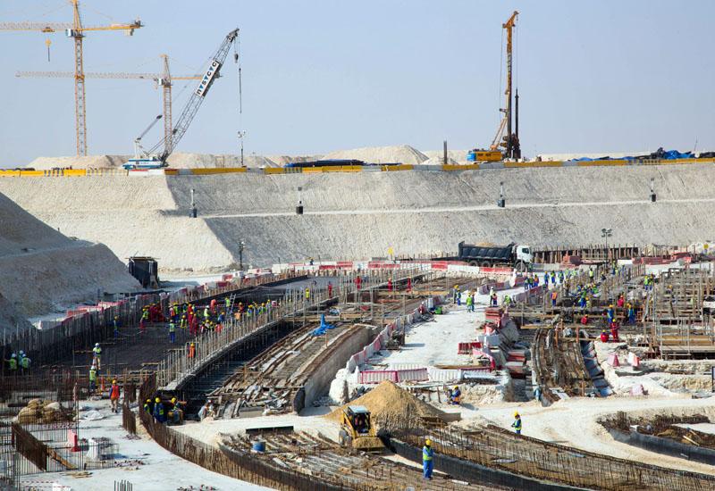 Construction on Al Bayt Stadium.