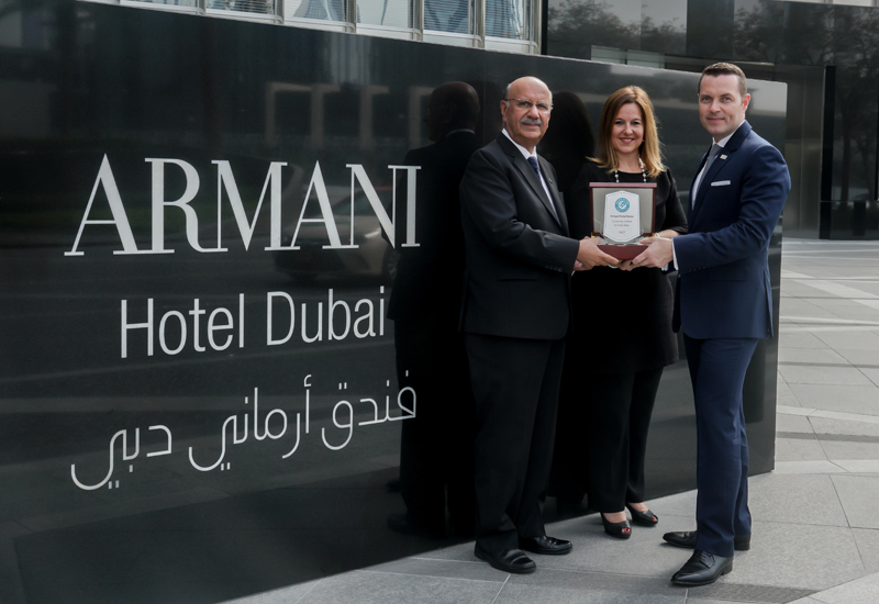 (From left to right) Abdul Quddus, director of engineering, Armani Hotel Dubai; Sandrine Le Biavant, director consultancy, Farnek Middle East; Mark Kirby, general manager, Armani Hotel Dubai.
