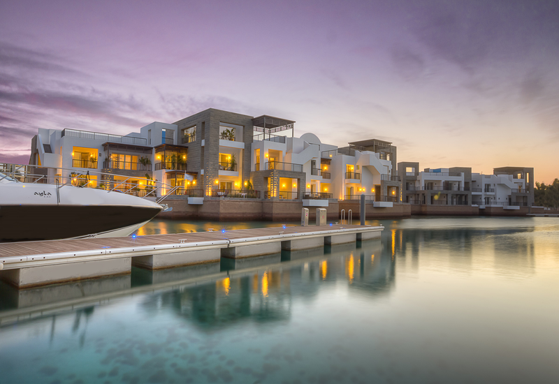 The design of the island apartments reflects contemporary architectural style with views of the vast stretches of water.