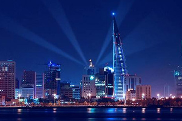 A panshot of the Bahrain nocturnal skyline-representational image only.
