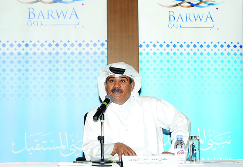 Salman bin Mohammed Al Muhannadi, Group CEO, Barwa, during the press conference at Barwa head office yesterday. (image: The Peninsula)