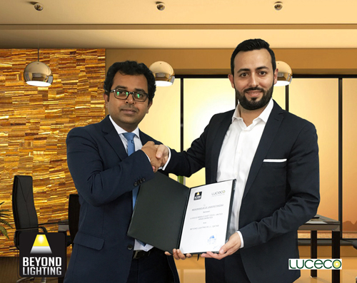 Venkat Raman, general manager, Luceco MENA (left) and Nizar Nasreddine, general manager, Beyond Lighting, Qatar at the signing ceremony in Doha.