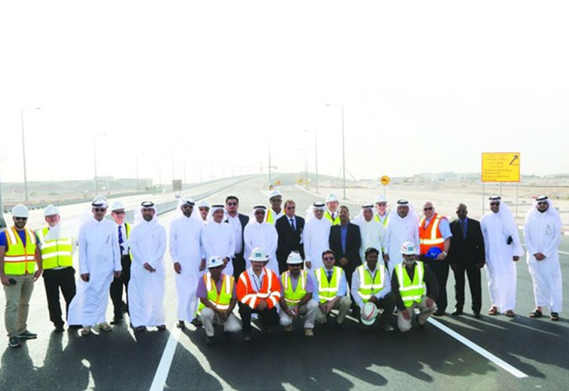 The new bridge forms part of the vital Rawdat Al Khail Road project, and is set to improve traffic flow in the area. Officials at the opening of the bridge.