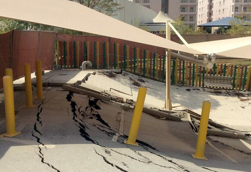Barwa City parking lot cave-in. (Image courtesy: Doha News)