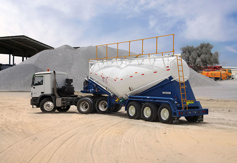A classic banana-shaped cement bulker produced locally by Gorica Industries.