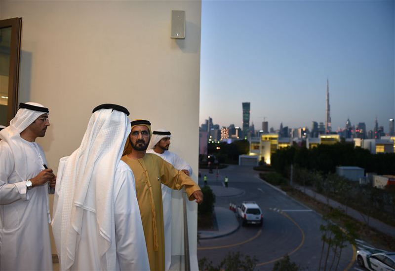 H H Sheikh Mohammed inspected the project's show villas [Image courtesy: Dubai Media Office].