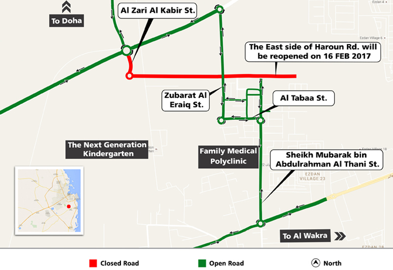 Ashghal, Qatar's Public Works Authority will implement a temporary detour on Haroun Road in North Al Wukair.