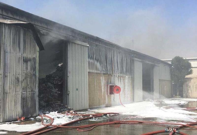 The fire in Ras Al Khor damaged three warehouses [image: Arabian Business].
